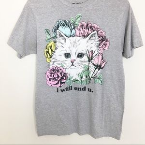 """Kitty Graphic Tee """"I Will End U"""" Funny cats"""